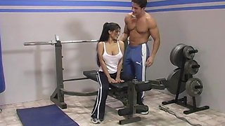 Brunette Alexi wet pussy smashed hardcore in the gym