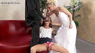 Sinful teen slut & a sexy bride suck a black dude's enormous dick