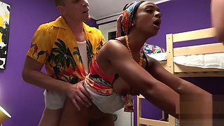 Fake Hostel African Queen and busty big ass a latina in crazy threesome