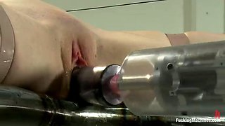 redhead audrey lords enjoying a fucking machine with multiple toys