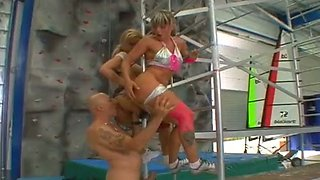 Busty flexible and sporty blonde rock-climbers get analfucked hard by coach