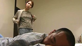 Japanese wife fucks her husband in the morning and masturbates in the bathroom