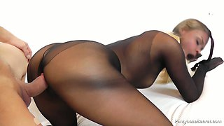 Horny blondie Barra Brass in pantyhose costume rides hard dick