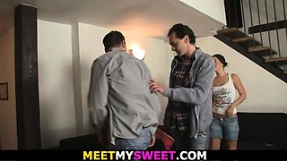 Threesome mature and teen family orgy