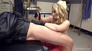 dominating mistress aiden starr shoves metal rod up slave's dick and jerks it till he cums