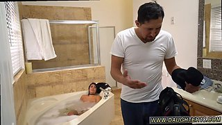 Brunette teen babe is eager for get nasty in the bathroom