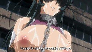 Busty anime babe sucks a big cock