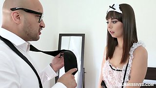 Sexy maid with perfect booty Shae Celestine gives an impressive blowjob