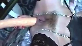 Whore With A Long Dildo Up Her Dirty Butt