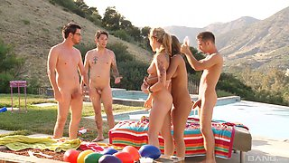 Lovely chicks get talked into fucking with kinky guys outdoors