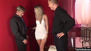Cherry Jul wore a hot white dress for her sexual romp with two big cocked men
