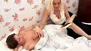 Gorgeous Russian secretary seduces my son in the bed
