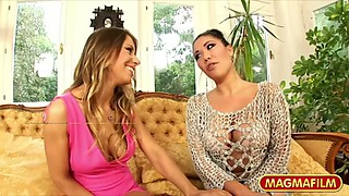Nasty Asian mommy London Keyes and a blonde hoe fuck in 3some