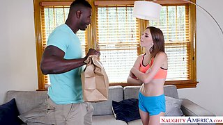 Black dude drills wet pussy of naughty red haired chick Alex Blake