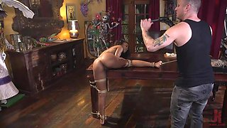 interracial fuck session with rope bondage and ass whipping