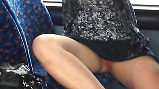 Bumpy bus ride with crotchless knickers