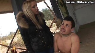 Sub guy naked in the cold and abused by his mistress