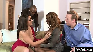Interracial foursome banging with two hotties