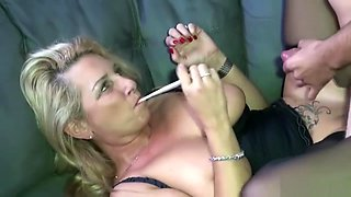 German Amateur MILF with Natural Tits fuck Stranger Boy