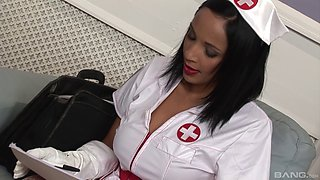 Sexy nurse in lipstick and lingerie fucked in her wet cunt