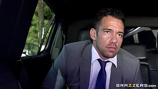 Busty limo driver and her hunky client fucking in the car