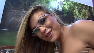 Mature babe with braces and glasses Anny Lee fucked hardcore doggy