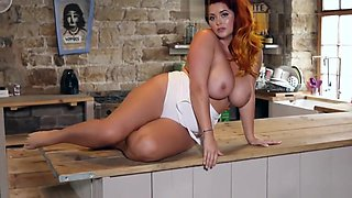 Sexy Lucy Vixen Striptease In The Kitchen