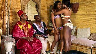 Wonderful black hottie Skyler Nicole massages lewd African shaman's strong cock