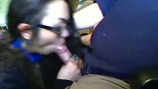 Nerdy Asian gal sucking my big dick deepthroat in amateur clip