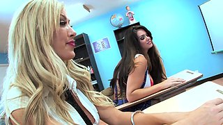 Two hot students fuck their teacher in detention