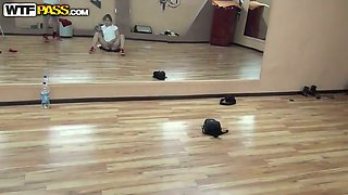 Perverted amateur gal goes wild in front of a mirror in dance studio