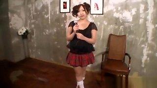 Hot Japanese AV model in sexy school uniform