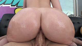 Lusty beauty with perfect booty Daisy Stone rides a strong big prick