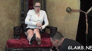 mistress kicks slave in balls feature clip 1