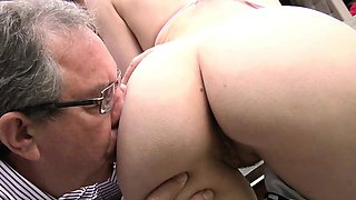 Perfect Natural Teen Fucked by Grandpa Outside Cum