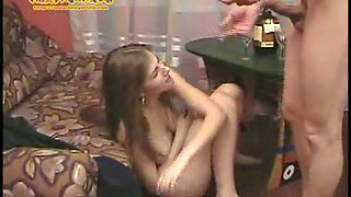 Cute brunette authentic Russian teen Vanda is tipsy