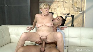 Obsessed with sex young dude fucks old cunt of nasty stepaunt Malya