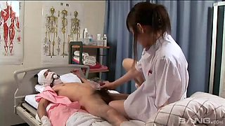 An Asian nurse makes her patient feel better by fucking him