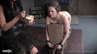 Pale blonde teen slut Nora Riley cries wile getting abused hardcore