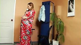 Russian grandmother eight months pregnant fuck with a plumber