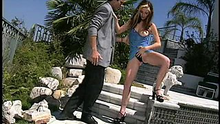 Cowgirl long hair getting pulled while ravished at the pool