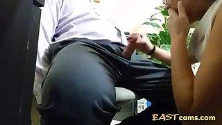 Last day at work asian intern sucks off boss