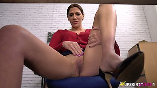 Slutty secretary is masturbating her pussy spreading legs under the table