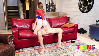 Cute teen Melody Marks tries to cope with massive aggressive penis of Sean Lawless