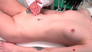 Doctor ana does a special oral examination for terra