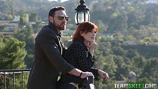 Slim red haired gal Ava Little gets laid on the fist date