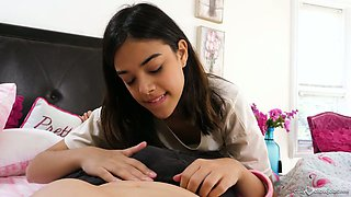 Lovable dark haired cutie Harmony Wonder pleases dude with oral sex