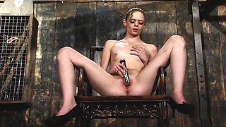 Angelina Black Tied Down Fuck Machine Orgasm