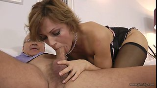 Gorgeous MILF in black stocking gets slammed by an old fuck