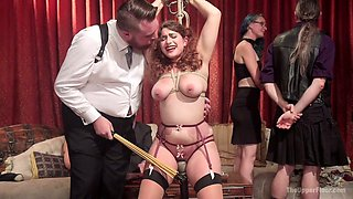 Syren De Mer doesn't mind being fucked during crazy bondage party